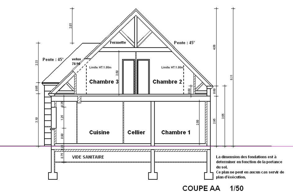 Plan De Coupe Une Piece Qui Represente Le Terrain Et La Construction